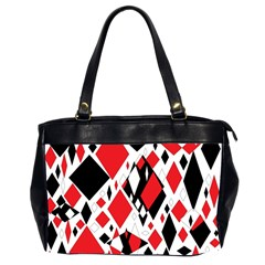 Distorted Diamonds In Black & Red Oversize Office Handbag (two Sides)