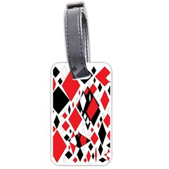 Distorted Diamonds In Black & Red Luggage Tag (One Side)