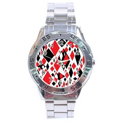 Distorted Diamonds In Black & Red Stainless Steel Watch