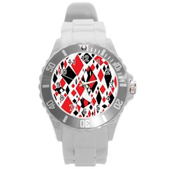 Distorted Diamonds In Black & Red Plastic Sport Watch (Large)
