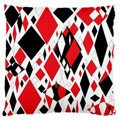 Distorted Diamonds In Black & Red Large Cushion Case (two Sided)