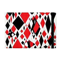 Distorted Diamonds In Black & Red Apple Ipad Mini Flip Case