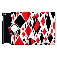 Distorted Diamonds In Black & Red Apple iPad 2 Flip 360 Case