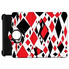 Distorted Diamonds In Black & Red Kindle Fire HD 7  (1st Gen) Flip 360 Case