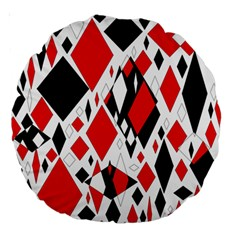 Distorted Diamonds In Black & Red 18  Premium Round Cushion