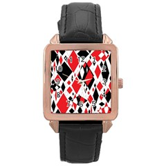 Distorted Diamonds In Black & Red Rose Gold Leather Watch