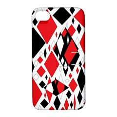 Distorted Diamonds In Black & Red Apple Iphone 4/4s Hardshell Case With Stand
