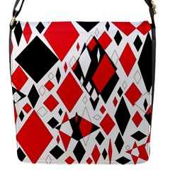Distorted Diamonds In Black & Red Flap Closure Messenger Bag (Small)