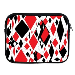 Distorted Diamonds In Black & Red Apple Ipad Zippered Sleeve