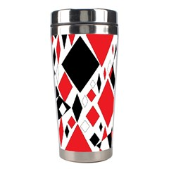 Distorted Diamonds In Black & Red Stainless Steel Travel Tumbler