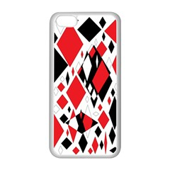 Distorted Diamonds In Black & Red Apple iPhone 5C Seamless Case (White)