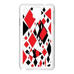 Distorted Diamonds In Black & Red Samsung Galaxy Note 3 N9005 Case (White)