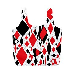 Distorted Diamonds In Black & Red Reusable Bag (M)