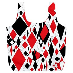 Distorted Diamonds In Black & Red Reusable Bag (XL)