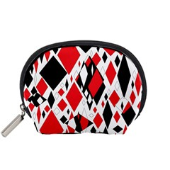 Distorted Diamonds In Black & Red Accessory Pouch (small)