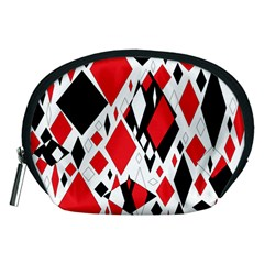 Distorted Diamonds In Black & Red Accessory Pouch (medium)