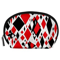 Distorted Diamonds In Black & Red Accessory Pouch (Large)