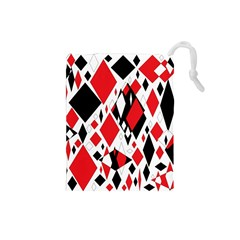 Distorted Diamonds In Black & Red Drawstring Pouch (small)