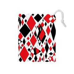 Distorted Diamonds In Black & Red Drawstring Pouch (medium)