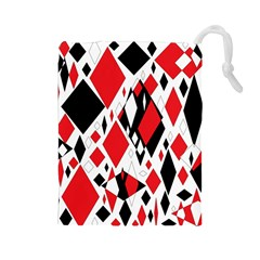 Distorted Diamonds In Black & Red Drawstring Pouch (Large)