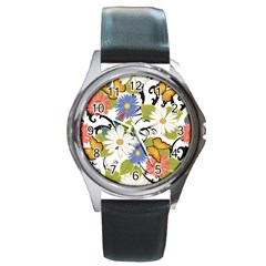 Floral Fantasy Round Leather Watch (silver Rim)