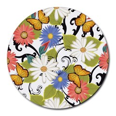 Floral Fantasy 8  Mouse Pad (round)