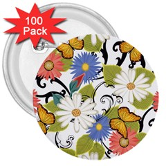 Floral Fantasy 3  Button (100 Pack)