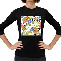 Floral Fantasy Women s Long Sleeve T Shirt (dark Colored)