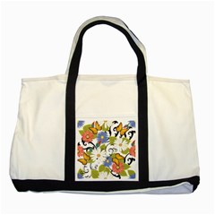 Floral Fantasy Two Toned Tote Bag