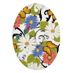 Floral Fantasy Oval Ornament (Two Sides)
