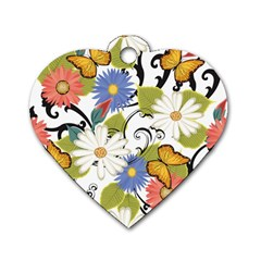 Floral Fantasy Dog Tag Heart (One Sided)