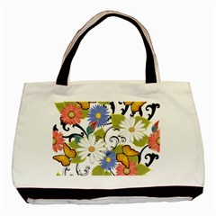 Floral Fantasy Twin Sided Black Tote Bag