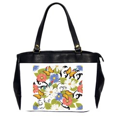 Floral Fantasy Oversize Office Handbag (two Sides)