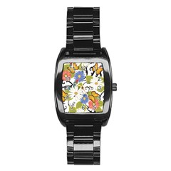 Floral Fantasy Stainless Steel Barrel Watch