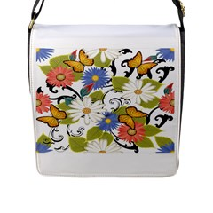 Floral Fantasy Flap Closure Messenger Bag (Large)