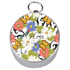 Floral Fantasy Silver Compass