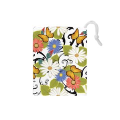 Floral Fantasy Drawstring Pouch (Small)