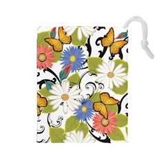 Floral Fantasy Drawstring Pouch (Large)
