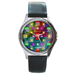 Abstract Modern Round Leather Watch (silver Rim)