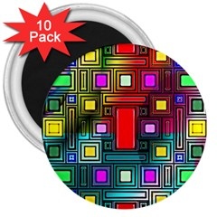 Abstract Modern 3  Button Magnet (10 Pack)