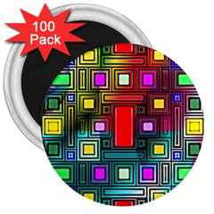 Abstract Modern 3  Button Magnet (100 Pack)
