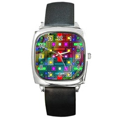 Abstract Modern Square Leather Watch
