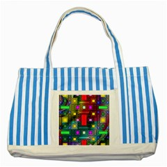 Abstract Modern Blue Striped Tote Bag