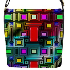 Abstract Modern Flap Closure Messenger Bag (Small)