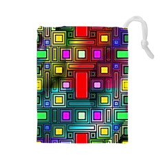 Abstract Modern Drawstring Pouch (Large)