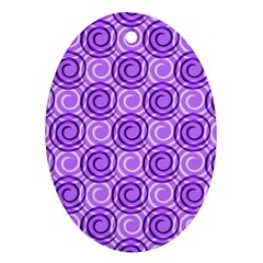 Purple And White Swirls Background Oval Ornament