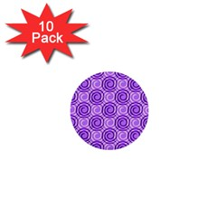 Purple And White Swirls Background 1  Mini Button (10 pack)