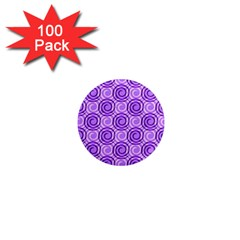 Purple And White Swirls Background 1  Mini Button Magnet (100 Pack)