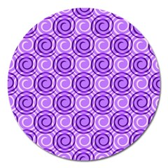 Purple And White Swirls Background Magnet 5  (Round)