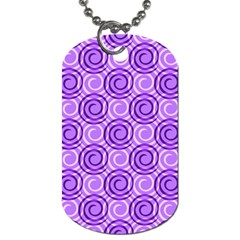 Purple And White Swirls Background Dog Tag (two Sided)